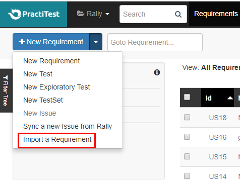 Import a Requirement from Rally