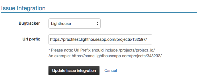 Lighthouse integration settings