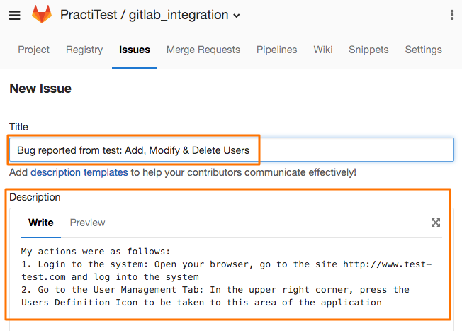 gitlab integration reporting an issue