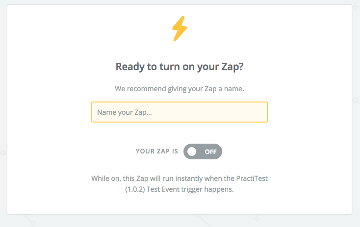 name your zap and activate