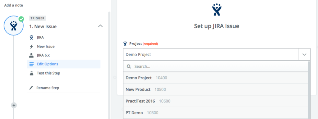 select JIra project