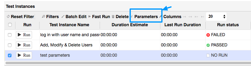 setting up step parameters in test run