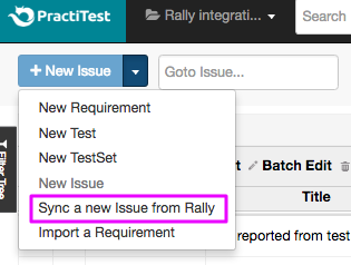 sync a new issue from Rally