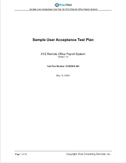 Sample User Accaptance Test Plan